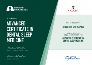 advanced certificate in Dental Sleep Medicine